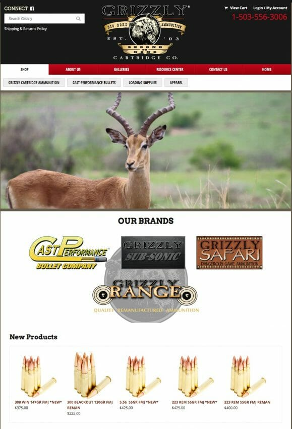 Grizzly Cartridge Co. Launches Updated Website and Fully Stocked Online Store ammo, ammunition Firearms News