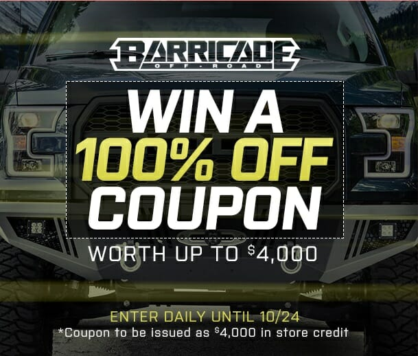 Win 100% Off Coupon Courtesy of Barricade Off-Road  Automotive News