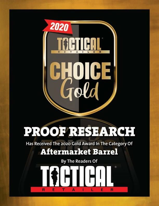 PROOF Research Takes Home Tactical Retailer's 2020 Gold Award for Aftermarket Barrels firearms Firearms News